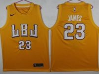 New Mens Nba Los Angeles Lakers #23 Lebron James Yellow Hardwood Classics Jersey