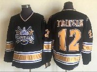 Mens Nhl Washington Capitals #12 Jeff Friesen Black Throwbacks Ccm 1990 Vintage Classic Jersey