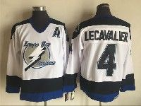 Mens Nhl Tampa Bay Lightning #4 Vincent Lecavalier White Throwbacks Ccm Jersey