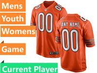 Mens Women Youth Nfl Chicago Bears Alternate Orange Game Current Player Jersey