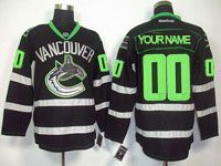 Mens Reebok Nhl Vancouver Canucks Custom Made Black (green Number) Jersey