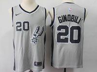 Mens Nba San Antonio Spurs Spurs #20 Manu Ginobili Gray Swingman Nike Jersey