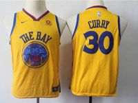 Youth Nba Golden State Warriors #30 Stephen Curry Gold Nike City Edition Swingman Jersey
