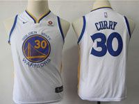 New Youth Nike Golden State Warriors #30 Stephen Curry White Swingman Jersey