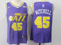 Mens 2018-19 Nba Utah Jazz #45 Donovan Mitchell Purple Nike Swingman Jersey