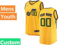 Mens Youth Nba Utah Jazz Custom Made Yellow Nike Swingman Jersey