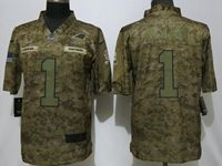 Mens Women Nfl Carolina Panthers #1 Cam Newton 2018 Camo Salute To Service Limited Jersey