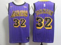 Mens Nba Los Angeles Lakers #32 Magic Johnson Purple Nike 2019 City Edition Jersey