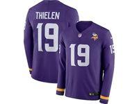 Mens Womens Nfl Minnesota Vikings #19 Adam Thielen Purple Nike Therma Long Sleeve Jersey