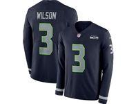 Mens Nfl Seattle Seahawks #3 Russell Wilson Blue Nike Therma Long Sleeve Jersey