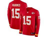 Mens Womens Nfl Kansas City Chiefs #15 Patrick Mahomes Red Nike Therma Long Sleeve Jersey