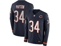 Mens Womens Nfl Chicago Bears #34 Walter Payton Blue Nike Therma Long Sleeve Jersey