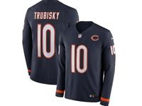 Mens Womens Nfl Chicago Bears #10 Mitchell Trubisky Blue Nike Therma Long Sleeve Jersey