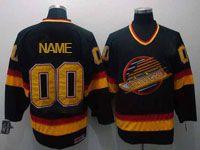 Mens Ccm Nhl Vancouver Canucks Custom Made Black Throwbacks Jersey