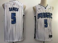 New Mens Nba Orlando Magic #5 Mohamed Bamba White Stripe Swingman Jersey
