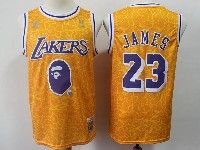 New Mens Nba Los Angeles Lakers #23 Lebron James Yellow Hardwood Classics Mitchell&ness Jersey
