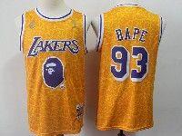 New Mens Nba Los Angeles Lakers #93 Bathing Ape Yellow Hardwood Classics Mitchell&ness Jersey