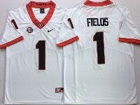 Mens Ncaa Nfl Georgia Bulldogs #1 Justin Fields White Vapor Untouchable Limited Jersey
