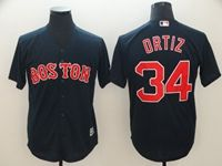 Mens Mlb Boston Red Sox #34 Ortiz Dark Blue Cool Base Jersey