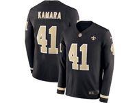 Mens Nfl New Orleans Saints #41 Alvin Kamara Black Nike Therma Long Sleeve Jersey