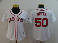 Women Mlb Boston Red Sox #50 Mookle Betts White Cool Base Jersey