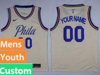 Mens Youth Philadelphia 76ers Nike Custom Made Cream Swingman Jersey