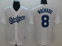 Mens Majestic Los Angeles Dodgers #8 Manny Machado White Cool Base Jersey