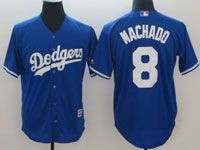 Mens Majestic Los Angeles Dodgers #8 Manny Machado Blue Cool Base Jersey