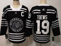 Mens Nhl Chicago Blackhawks #19 Jonathan Toews 2019 Winter Classic Black Adidas Jersey