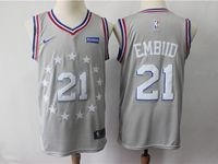Mens 2018-19 Nba Philadelphia 76ers #21 Joel Embiid Gray Nike City Edition Jersey