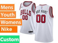 Mens Youth Nba Chicago Bulls 2018-19 Custom Made White Swingman Nike Jersey