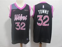 Mens 2018-19 Nba Minnesota Timberwolves #32 Karl-anthony Towns Black Purple Number Nike City Edition Jersey