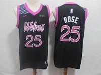 Mens 2018-19 Nba Minnesota Timberwolves #25 Derrick Rose Black Purple Number Nike City Edition Jersey