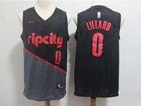 Mens 2018-19 Nba Portland Trail Blazers #0 Damian Lillard Black Nike City Edition Swingman Jersey