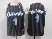 Youth Nba Orlando Magic #1 Penny Hardaway Black Stripe Hardwood Classics Jersey