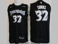 Mens Nba Minnesota Timberwolves #32 Karl-anthony Towns Black Nike Hardwood Classics Swingman Jersey