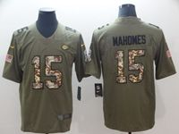 Mens Nfl Kansas City Chiefs #15 Patrick Mahomes Olive Camo Carson 2017 Salute To Service Limited Jersey