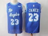 Mens 2018-19 Nba Los Angeles Lakers #23 Lebron James Blue Hardwood Classics Jersey