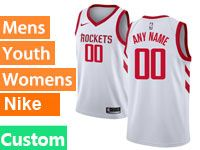 Mens Youth Nba Houston Rockets Custom Made White Nike Swingman Jersey
