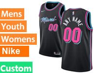 Mens Nba Miami Heat Custom Made Black Nike Vice Uniform City Edition Swingman Jersey