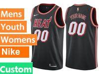 Mens 2017-18 Season Nba Miami Heat Custom Made Black Throwback Nike Swingman Jersey