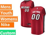 Mens Nba Miami Heat Custom Made Red Miami Nike Swingman Jersey
