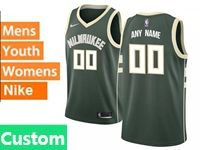 Mens Womens Youth Nba Milwaukee Bucks Custom Made Green Nike City Edition Swingman Jersey