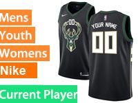 Mens Womens Youth Nba Milwaukee Bucks Current Player Black Nike City Edition Jersey