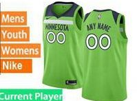 Mens Womens Youth 2017-18 Nba Minnesota Timberwolves Current Player Light Green Nike Swingman Jersey