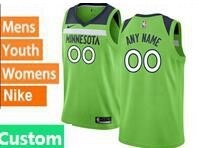 Mens Womens Youth 2017-18 Nba Minnesota Timberwolves Custom Made Light Green Nike Swingman Jersey
