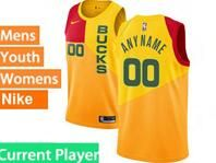 Mens Womens Youth 2018-19 Nba Milwaukee Bucks Current Player Yellow & Red Splitting City Edition Jersey