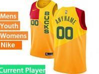 Mens Womens Youth 2018-19 Nba Milwaukee Bucks Current Player Yellow & Red Splitting City Edition Jersey