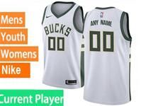 Mens Womens Youth Nba Milwaukee Bucks Current Player White Swingman Nike Jersey