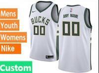 Mens Womens Youth Nba Milwaukee Bucks Custom Made White Swingman Nike Jersey